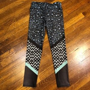EVOLUTION AND CREATION Peacock Feather Leggings XS